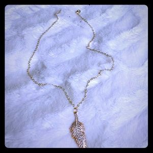 Anthropologie Rhinestone Feather Charm Necklace